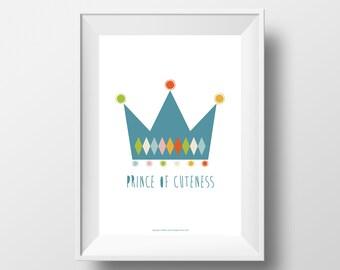 Printable, Nursery Wall Decor, Illustration, DIY, Instant Download, Kids Wall Art, Poster, Colourful, Baby Boy, Toddler, Crown, Superhero
