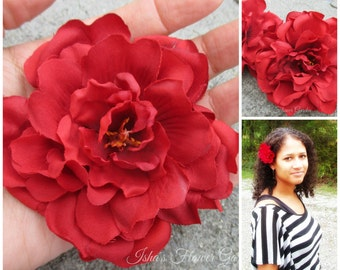 Red Rose of Sharon hair flower clip, red hair flower, red rose clip