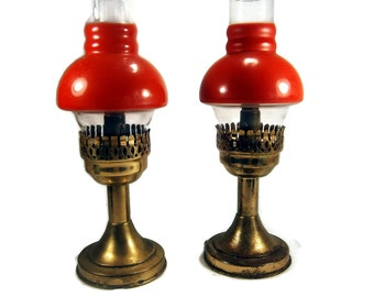 Two Mason Candle Lamps With Red Glass Globe / Vintage Lamps / Brass Lamps / 1950's
