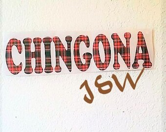 "CHINGONA Plaid Vinyl Decal Car Decal Wall Decor Sticker 5"""