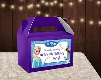 Frozen Favor Bags - Custom Gable Box - Frozen -Frozen Labels - Frozen Gable - Printable - Printed - Goodie Boxes