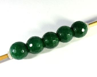 7Pc! Wholesale Lot Natural Green Jade Gemstone 14x12mm Football Faceted Big Hole Top Beads
