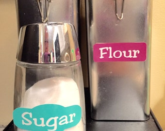 12 Vinyl Labels with Words Cut Out for Jars or Plastic Containers