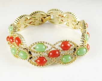 Vintage Sarah Coventry Bracelet with Green and Orange Cabochons