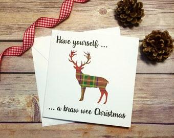 Scottish Christmas Card, Stag, Tartan Card, Handmade Christmas Card, Tartan Greeting Card, Braw Wee Christmas, Scotland, Scottish Christmas