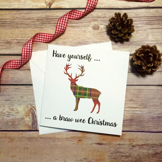Scottish christmas card stag tartan card handmade christmas like this item m4hsunfo