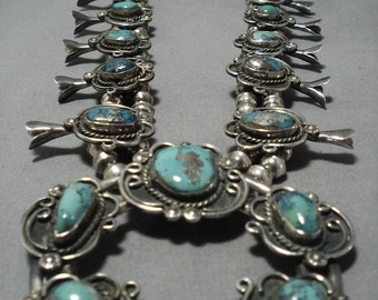 Museum Vintage Native American Navajo Persin Turquoise Sterling Silver Squash Blossom Necklace