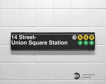 14 Street- Union Square Station - New York City Subway Sign - Wood Sign