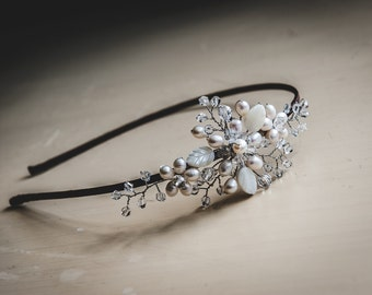 Wedding headpiece, Bridal headpiece, Bridal headband, Side tiara, Silver, Gold, Rose Gold, Boho, Crystal, Pearl, Bridal Accessories