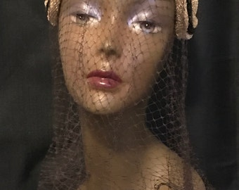Vintage Hat with Veil Retro Chic Pill Hat Woven with Brown Velvet Accents