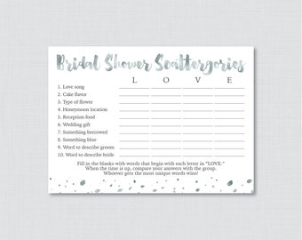White and Gray Bridal Shower Scattergories Game - Printable White and Silver Faux Foil Scattergories Game - Silver Bridal Shower Game 0010-S