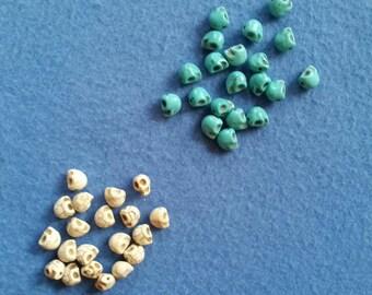 Twenty Skull Beads - dyed turquoise or natural white magnesite howlite skulls, 10mm x 9mm