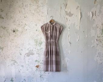 Vintage Day Dress - 1950s 1980s 50s 80s Grey Cream Striped Plaid Dress Small Medium