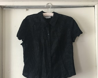 Black short sleeve eyelet button down