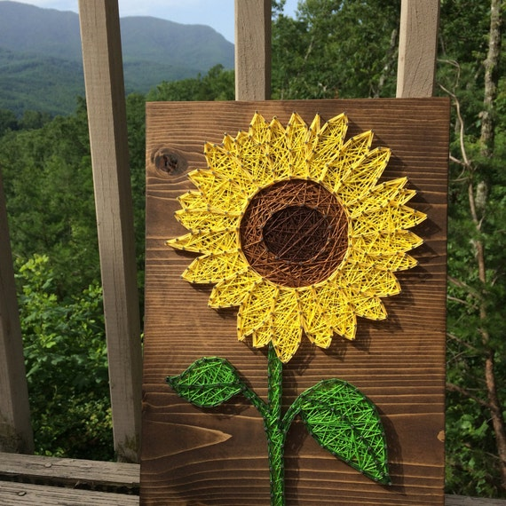 CUSTOM Small Sunflower String Art Sign Sunflower Wall Art
