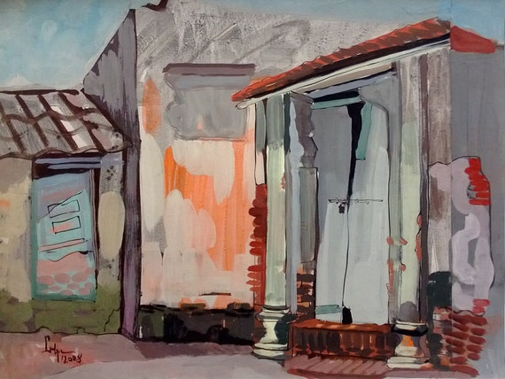 "LOCKED 20x16"" gouache on paper, live painting, Vietnam village scene (Cự Đà), original by Nguyen Ly Phuong Ngoc"