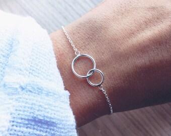 Bracelet fine two circles Silver 925 - chain, mesh - two interlocking circles - silver sterling bangle