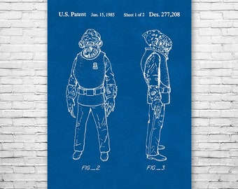 Admiral Ackbar Poster Art Print, Star, Wars, Jedi, Empire, Darth, Vader, Skywalker, Patent Art, Gift, Patent Print, Patent Poster, Wall Art
