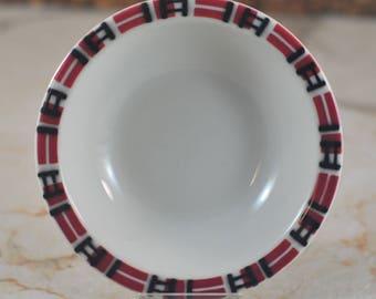 Vintage Jackson China Red Black and White Small Bowl, Berry Bowl, Dessert Bowl, Prep Bowl, Red Black Plaid, Restaurantware, Dinerware USA