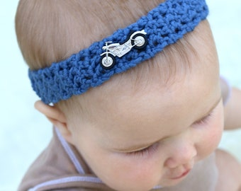 Motorcycle Headband / Boy Band / Vehicle Headband / Motorcycle accessories / TT Baby Clothes / Crochet Boy Headband / Baby Headband for Boys