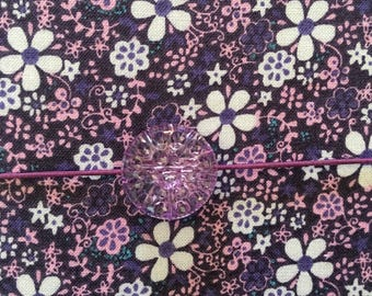 Fabric journal cover, purple, refillable