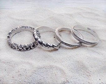 Stacking Rings Set Silver Band Boho Jewelry Rings
