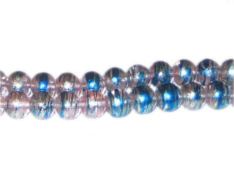 8mm Pink Sunrise Abstract Glass Bead, approx. 37 beads