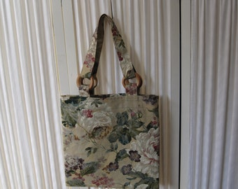 Floral tote bag book bag messenger bag in floral upholstery fabric