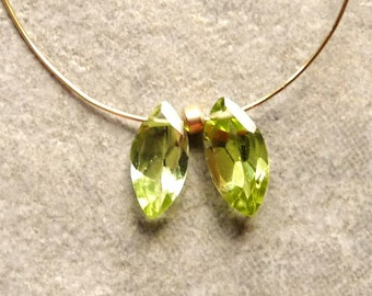 AAA -Peridot Faceted Marquise Briolette Beads -  10mm - Pair