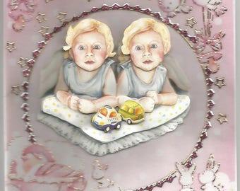 Carte bébé, baptême, communion, en 3d, faite main, catégorie naisance jumeaux - félicitations, bienvenue,bébés, enfants, fille,famille