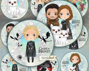 Game of Thrones - 2.5 inch circles - set of 12 - digital collage sheet - pocket mirrors, tags, scrapbooking, cupcake toppers