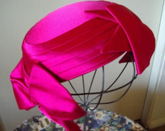 1940s Fuchsia Satin Bow Trimmed Cocktail Pillbox Item #805  Hats