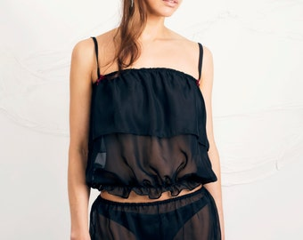 Black Chiffon Top and Shorts ,  nightwear, two piece set available in size 8-10