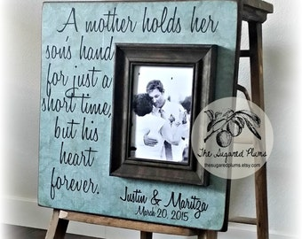 Wedding Gifts for Mom from Son, Mother of the Groom Gift, A Mother Holds Her Sons Hand, 16x16 The Sugared Plums Frames