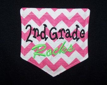 Second Grade Rocks Chevron Pocket Shirt 2nd Grade Rocks Pocket Teacher Shirt