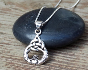Handmade claddagh necklace ready to ship claddagh pendant claddagh necklace claddagh pendant claddagh charm sterling silver claddagh celtic jewelry aloadofball Image collections