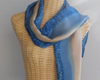 felted scarf, silk, cornflower and sable@evysoie stole