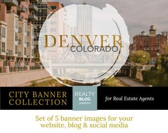 Denver Colorado Banner Set for websites blogs facebook twitter instagram