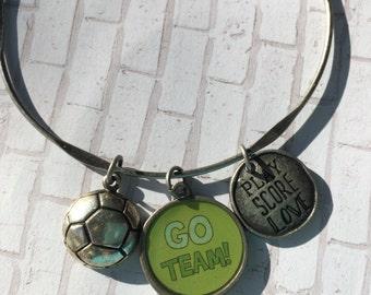 Sport charm bracelet, soccer charm bracelet