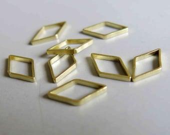 200pcs Raw Brass Rhombus Rings , Findings 16mm x 9mm - F185