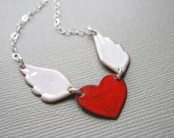 Red White Enamel Winged Heart Necklace