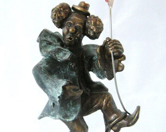 SCULPTURE BRONZE CLOWN,  Bronze High Stepping Clown Stands 6 Inches in Height weights 2 lbs. 6 oz. Free Shipping