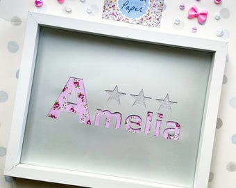 8x10 Framed Name Papercut   ANY NAME   Handmade   New Baby   Baby Shower   Baby Girl   Baby Boy   Nursery   Home Decor   Personalised