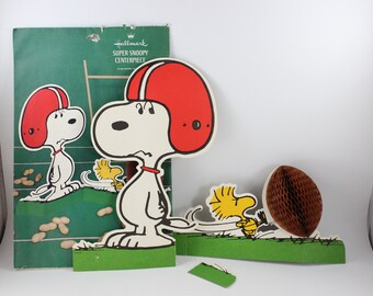 Vintage Hallmark Peanuts Comic Super Snoopy Centerpiece with Football