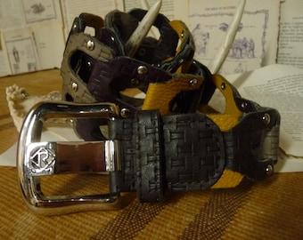 Vintage 70s Multi Color Faux Leather Piece Belt with silver studding.
