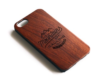 Mountains iPhone Case, Mountain Art, Wanderlust, Nature, Adventure Awaits, Nature Lover Gift, Outdoors, Gifts For Men, Wood iPhone Case
