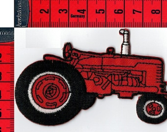 Iron or sew tractor red coat. Patch applique