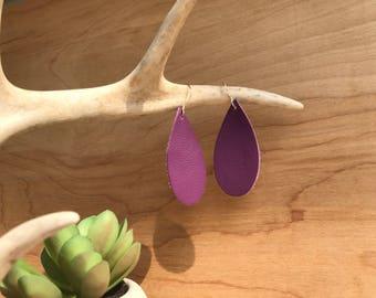 Regal purple leather teardrop earrings