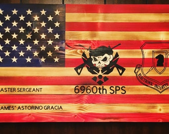 "27"" Burned Wooden American Flag-Customized"