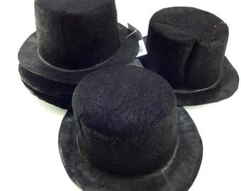 """CREASED 6 3/4"""" Black Mini Flocked Felt Top Hats - 6 PACK"""